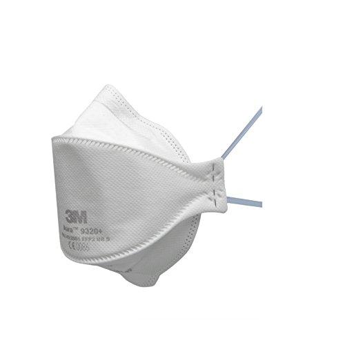3M Aura 9320+ FFP2 Atemschutzmaske Einweg, Filtertechnologie für einfaches Atmen, 20 Stück