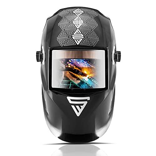 STAHLWERK ST-550L REAL COLOUR Vollautomatik Schweißhelm Schweißermaske Optische Klasse 1/1/1/1 mit großem Sichtfeld inklusive 5 Ersatzscheiben und Tasche, 7 Jahre Garantie auf Filter