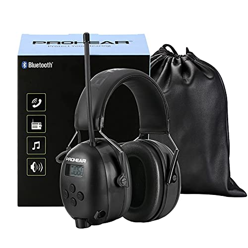 PROHEAR (Upgraded) Gehörschutz mit Bluetooth, LCD-Display, FM/AM Radio Wiederaufbare Ohrenschützer, Eingebautem Mikrofon und Lärmreduzierung für Lärmintensive Freizeitaktivitäten SNR30dB -Schwarz