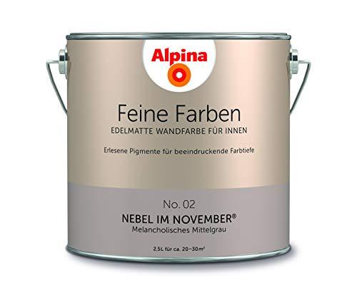 Alpina 2,5 L. Feine Farben, Farbwahl, Edelmatte Wandfarbe für Innen (No.2 Nebel im November - Melanc