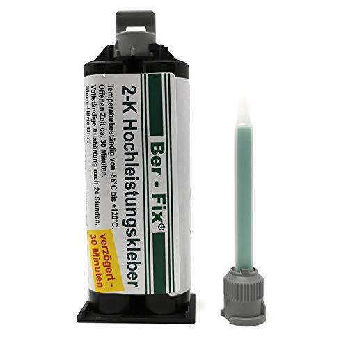 Ber-Fix® 50g EXTREMER 2K Hochleistungskleber Verzögert mit 1x Spitze - Metallkleber Extra Stark auch als Stein-Kleber Hard-Kunststoff-Kleber Glaskleber