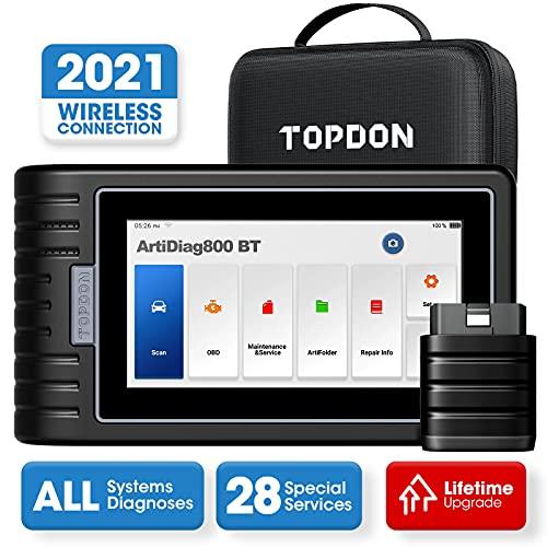TOPDON ArtiDiag800BT OBD2 Diagnosegerät mit Alle Systemdiagnosen &28 Servicefunktionen, Auto Diagnosegerät mit bluetooth, free Software-Upgrade Diagnosescanner, Öl-Reset/ IMMO/EBP/SAS/TPMS