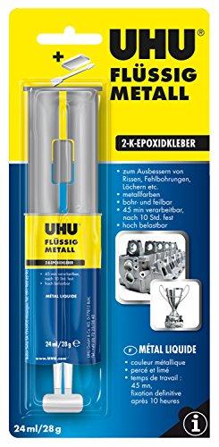 UHU 45960 2-Komponentenkleber Flüssig Metall, Metallfarbener 2K-Klebstoff in einer praktischen Doppelkammerspritze, 28 gK-Klebstoff
