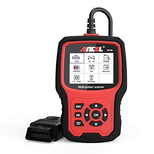 ANCEL VD700 Ganzes System OBD2 Diagnosegerät mit 8 Sonderfunktionen für VAG Fahrzeuge Diagnose OBD Scanner für Öl TPMS EPB TPS Reset Injektor Funktion SAS DPF Scan Tool