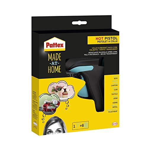 Pattex Made at Home Heißklebepistole, Kleber für kreative Heimwerkarbeiten, Set aus 1x Klebepistole und 6x Heißklebesticks mit 11mm Durchmesser