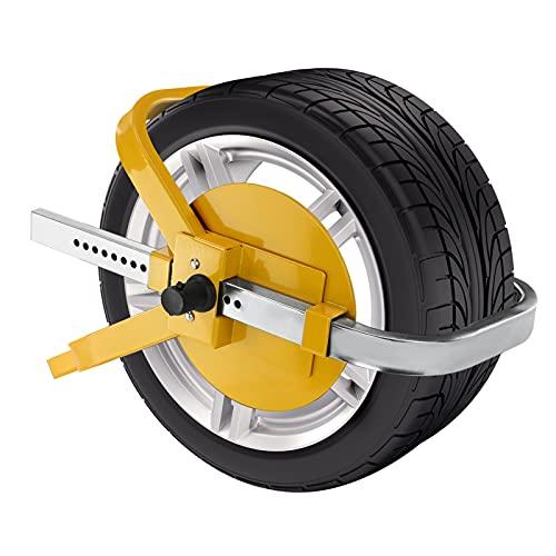 MorNon Radkralle Parkkralle Stahl Radschlos Diebstahlschutzvorrichtung Universal Diebstahlsicherung Auto mit Sicherheitsschloss und 3 Schlüsseln 13-17 Zoll