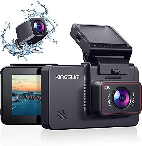 Kingslim 4K Dual Dashcam mit WiFi GPS, vordere 4K/2.5K hintere 1080P Autokamera, 3