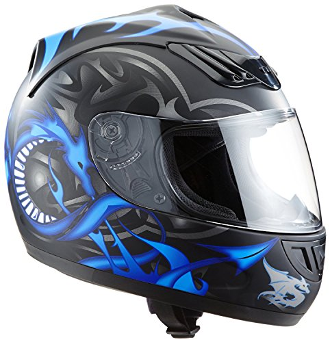 Protectwear H510-11BL-L Motorradhelm, Integralhelm mit Drachendesign, Größe L, Schwarz/Silber/Blau